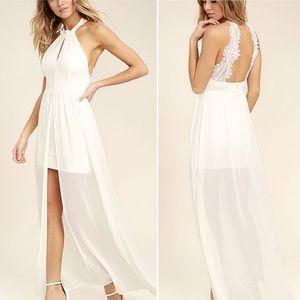 Lulus My Beloved White Lace Maxi Dress